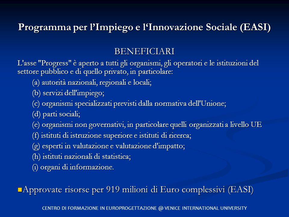 Programma per l'Impiego e l'Innovazione Sociale (EASI) BENEFICIARI L'asse