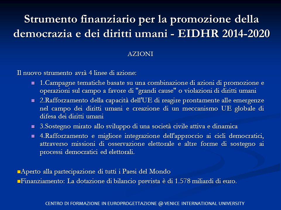 Strumento finanziario per la promozione della democrazia e dei diritti umani - EIDHR 2014-2020 AZIONI Il nuovo strumento avrà 4 linee di azione: 1.Cam