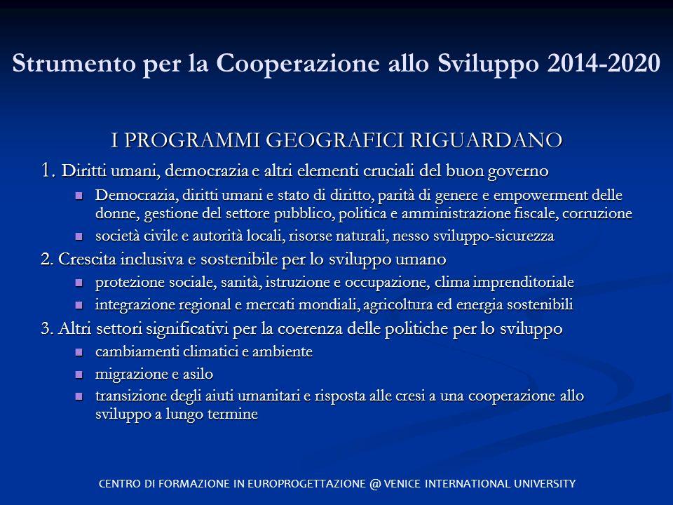Strumento per la Cooperazione allo Sviluppo 2014-2020 I PROGRAMMI GEOGRAFICI RIGUARDANO 1. Diritti umani, democrazia e altri elementi cruciali del buo