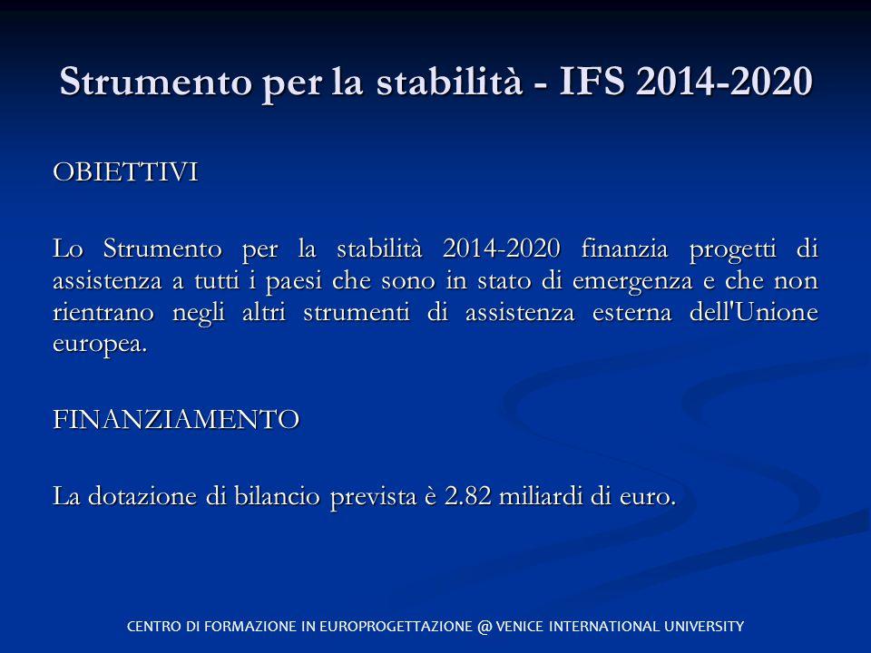 Strumento per la stabilità - IFS 2014-2020 OBIETTIVI Lo Strumento per la stabilità 2014-2020 finanzia progetti di assistenza a tutti i paesi che sono