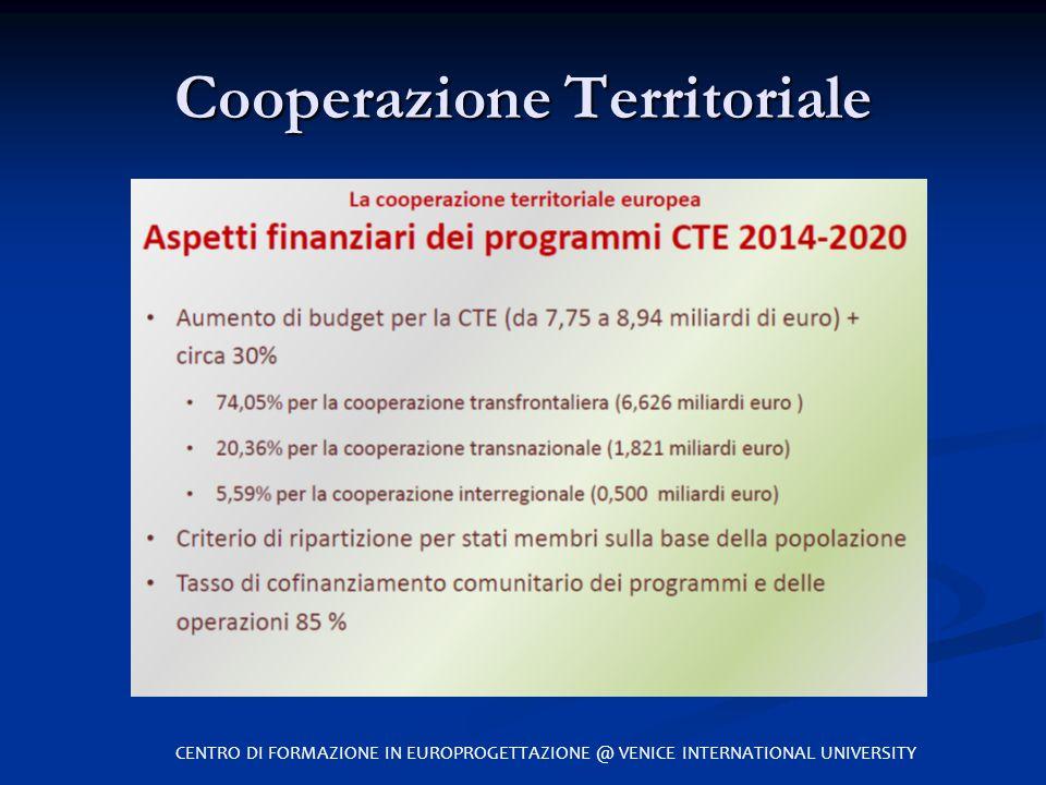 Cooperazione Territoriale CENTRO DI FORMAZIONE IN EUROPROGETTAZIONE @ VENICE INTERNATIONAL UNIVERSITY