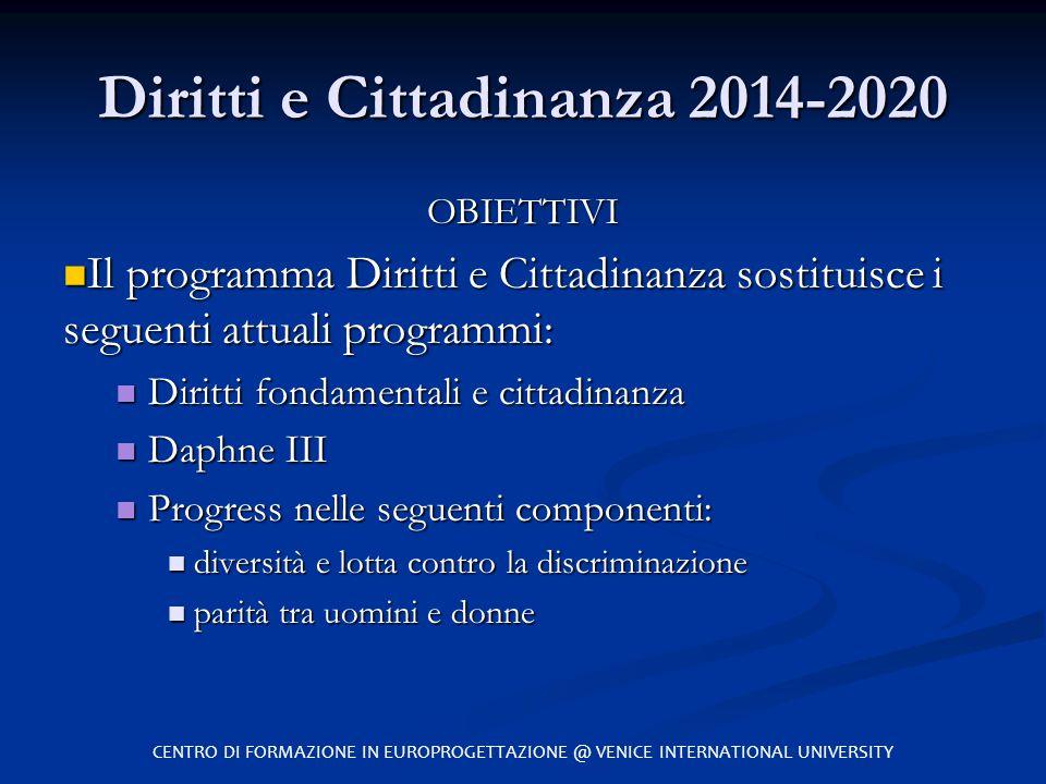 Diritti e Cittadinanza 2014-2020 OBIETTIVI Il programma Diritti e Cittadinanza sostituisce i seguenti attuali programmi: Il programma Diritti e Cittad