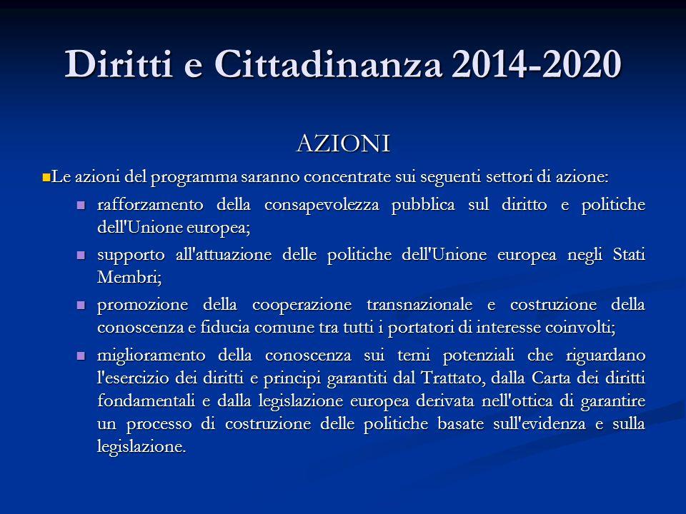 Diritti e Cittadinanza 2014-2020 AZIONI Le azioni del programma saranno concentrate sui seguenti settori di azione: Le azioni del programma saranno co