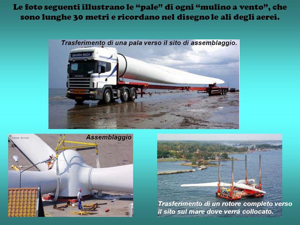 Le foto seguenti illustrano le pale di ogni mulino a vento , che sono lunghe 30 metri e ricordano nel disegno le ali degli aerei.