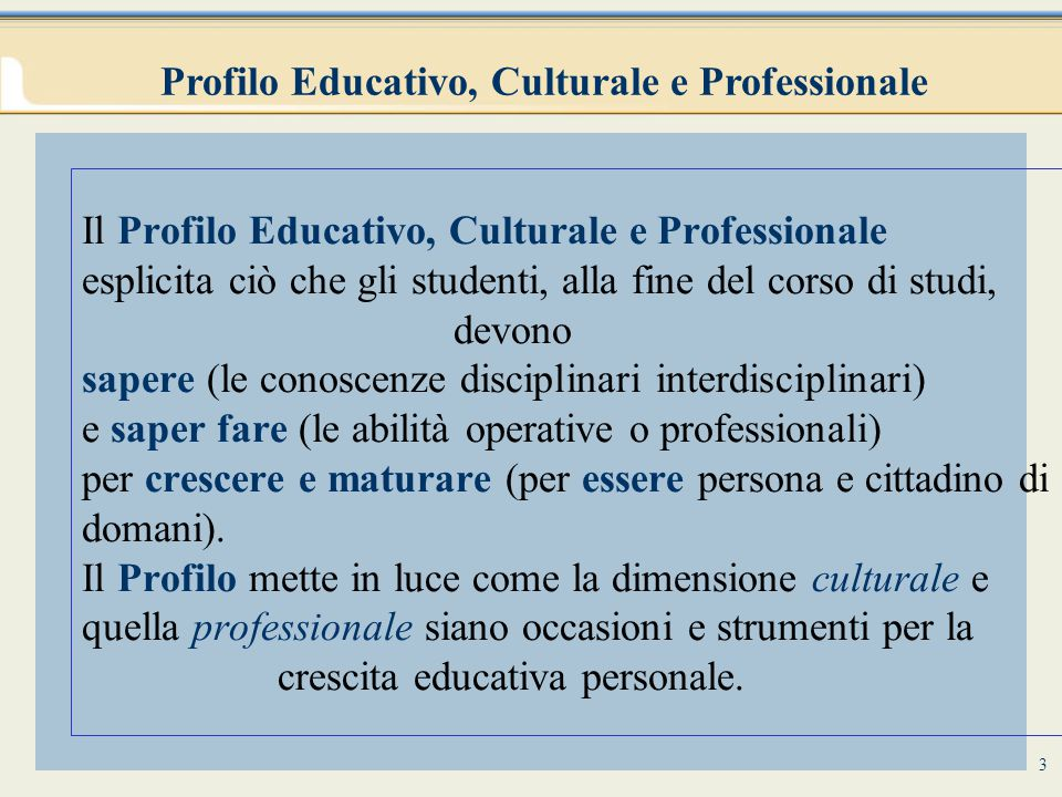 4 LABORATORI Profilo Educativo, Culturale e Professionale dello studente INDICAZIONI E RACCOMANDAZIONI NAZIONALI PIANO DELL'OFFERTA FORMATIVA EDUCAZIONE ALLA CONVIVENZA CIVILE DISCIPLINE (CONOSCENZE ED ABILITA') Attività opzionali nella primaria e facoltative nella secondaria per gruppo classe o per gruppi interclasse (attività informatiche, di lingua, espressive, progettuali, sportive, Larsa) cittadinanza, stradale, ambientale, salute, alimentare, affettività Obiettivi specifici di apprendimento PIANI DI STUDIO PERSONALIZZATI RISORSE PROFESSIONALI PORTFOLIO DELLE COMPETENZE INDIVIDUALI UNITÀ DI APPRENDIMENTO obiettivi formativi, organizzazione, contenuti e metodi, verifiche Docente coordinatore dell'équipe pedagogica Docente tutor (che nei primi tre anni della scuola primaria segue il gruppo classe per 18-21 ore settimanali) Come si arriva al Profilo Educativo, Culturale e Professionale dello studente