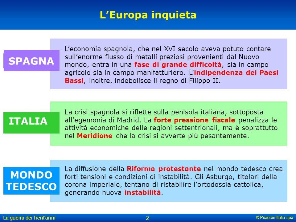 © Pearson Italia spa La guerra dei Trent'anni 2 L'Europa inquieta L'economia spagnola, che nel XVI secolo aveva potuto contare sull'enorme flusso di m