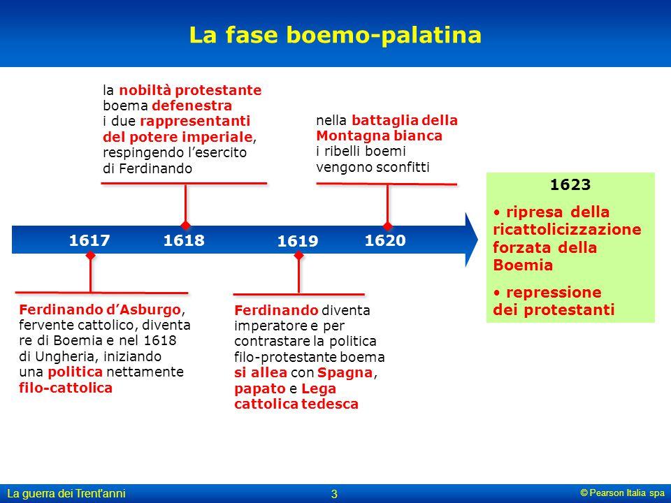© Pearson Italia spa La guerra dei Trent'anni 3 la nobiltà protestante boema defenestra i due rappresentanti del potere imperiale, respingendo l'eserc