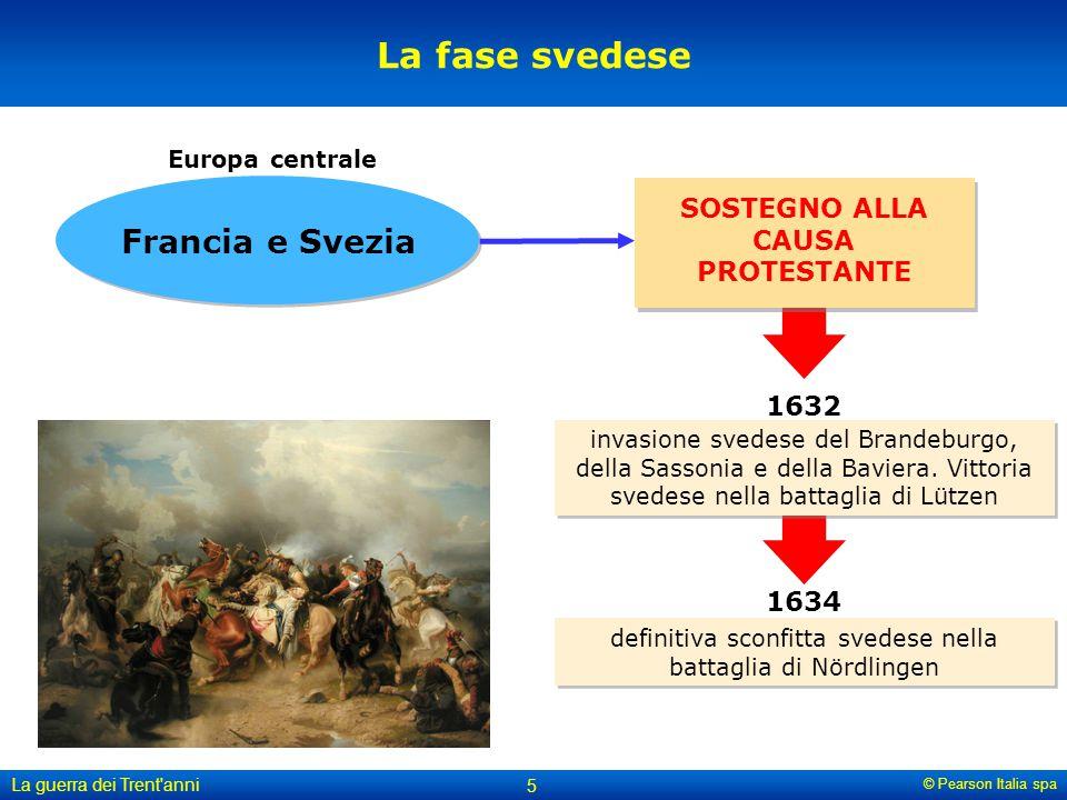 © Pearson Italia spa La guerra dei Trent'anni 5 La fase svedese SOSTEGNO ALLA CAUSA PROTESTANTE Francia e Svezia Europa centrale invasione svedese del