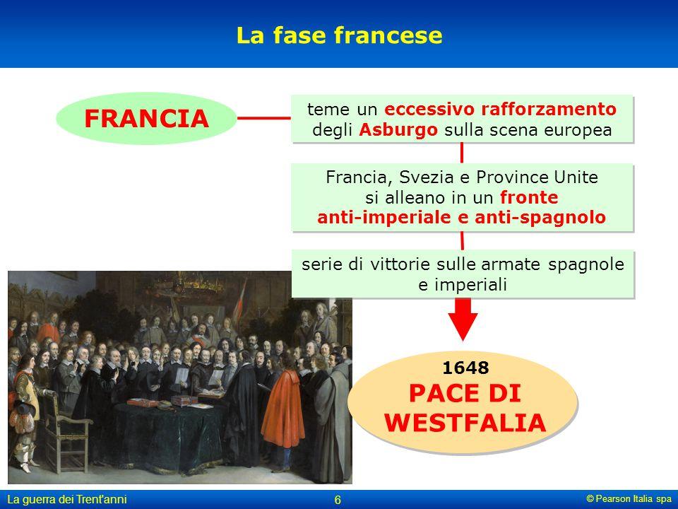 © Pearson Italia spa La guerra dei Trent'anni 6 La fase francese 1648 PACE DI WESTFALIA FRANCIA Francia, Svezia e Province Unite si alleano in un fron