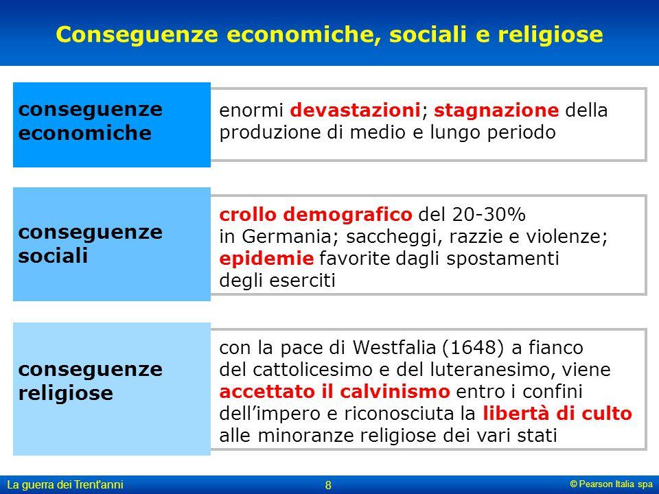 © Pearson Italia spa La guerra dei Trent'anni 8 Conseguenze economiche, sociali e religiose conseguenze economiche conseguenze sociali conseguenze rel