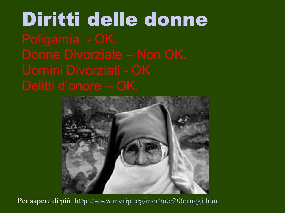 Diritti delle donne Poligamia - OK. Donne Divorziate – Non OK. Uomini Divorziati - OK Delitti d'onore – OK. Per sapere di più: http://www.merip.org/me
