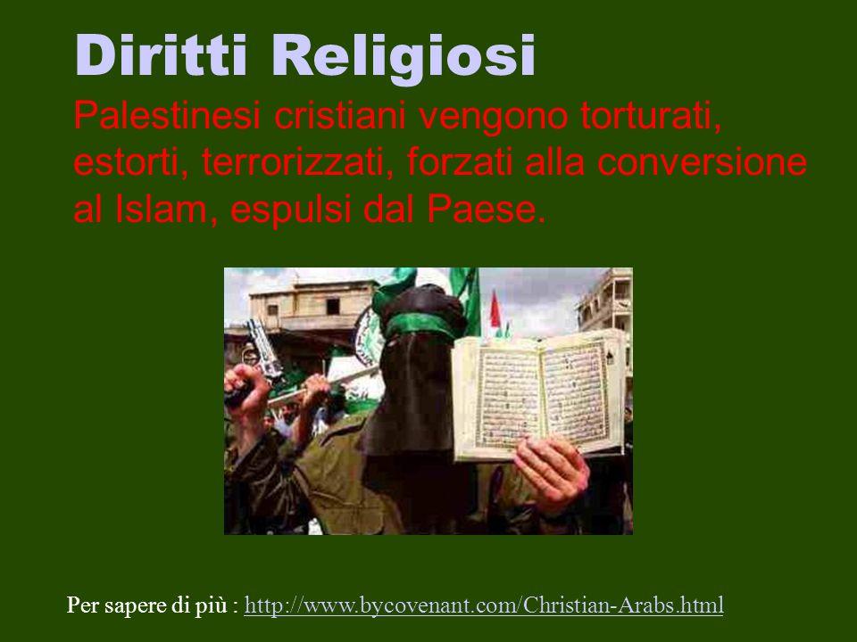 Diritti Religiosi Palestinesi cristiani vengono torturati, estorti, terrorizzati, forzati alla conversione al Islam, espulsi dal Paese.