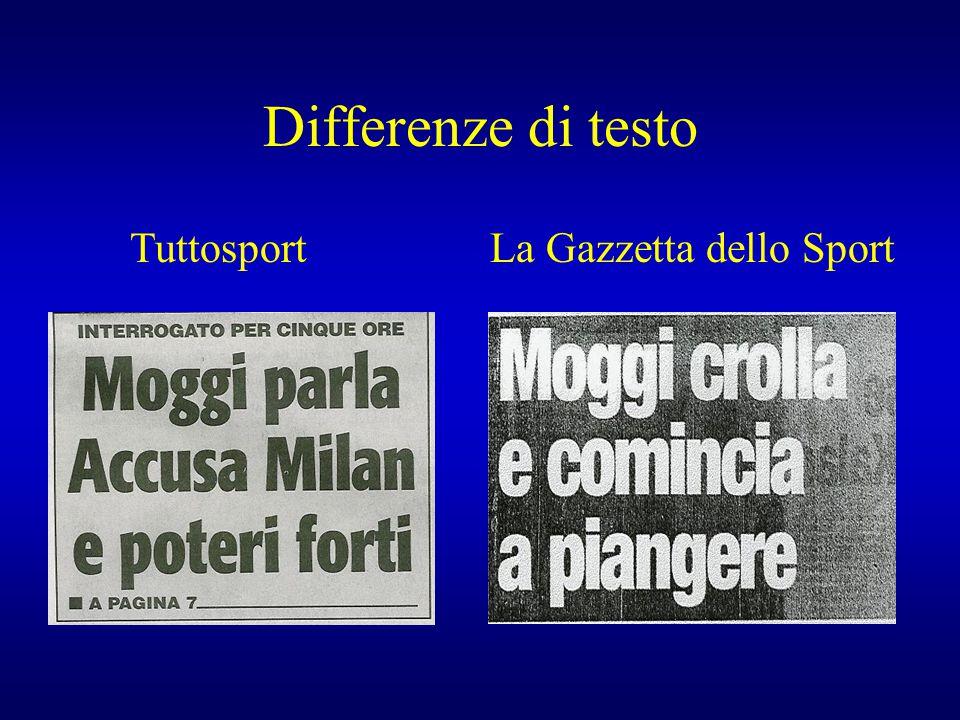 Differenze di testo TuttosportLa Gazzetta dello Sport