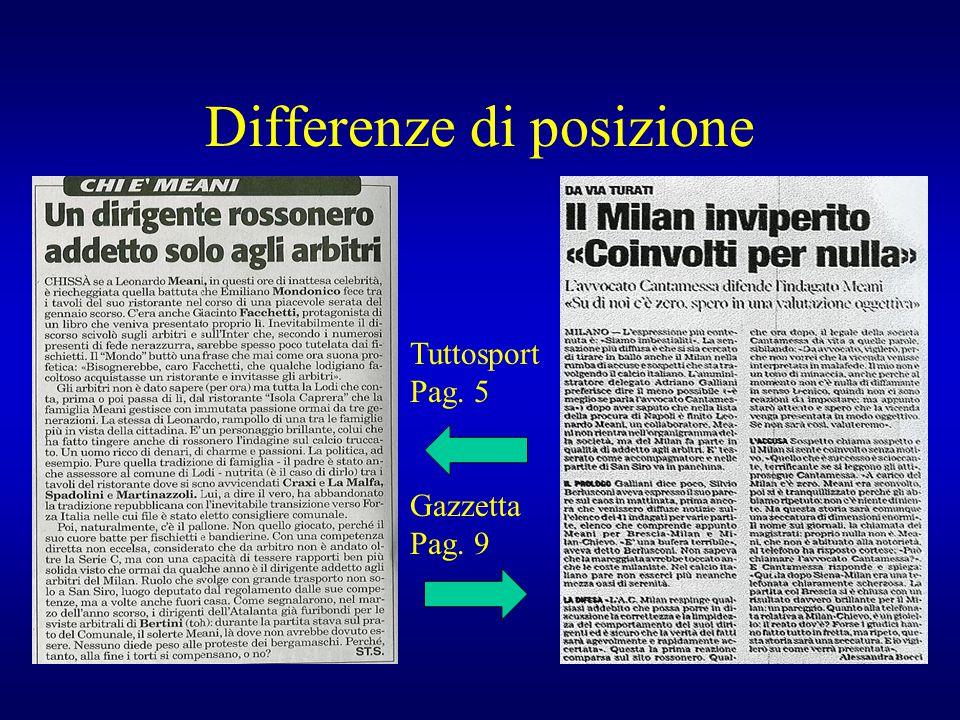 Differenze di posizione Tuttosport Pag. 5 Gazzetta Pag. 9