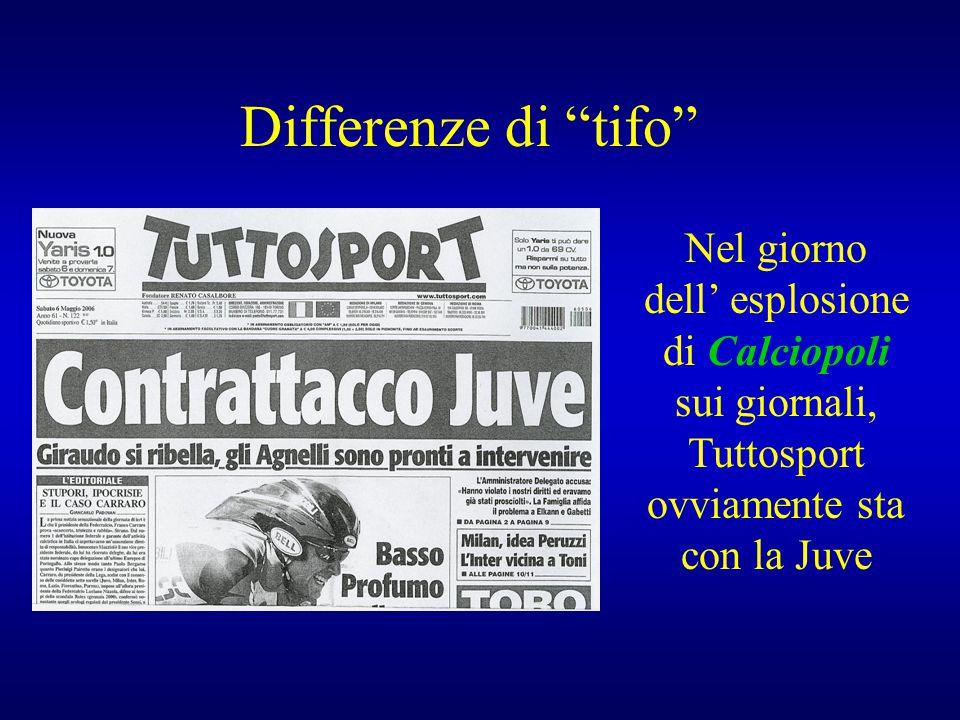 """Differenze di """"tifo"""" Nel giorno dell' esplosione di Calciopoli sui giornali, Tuttosport ovviamente sta con la Juve"""