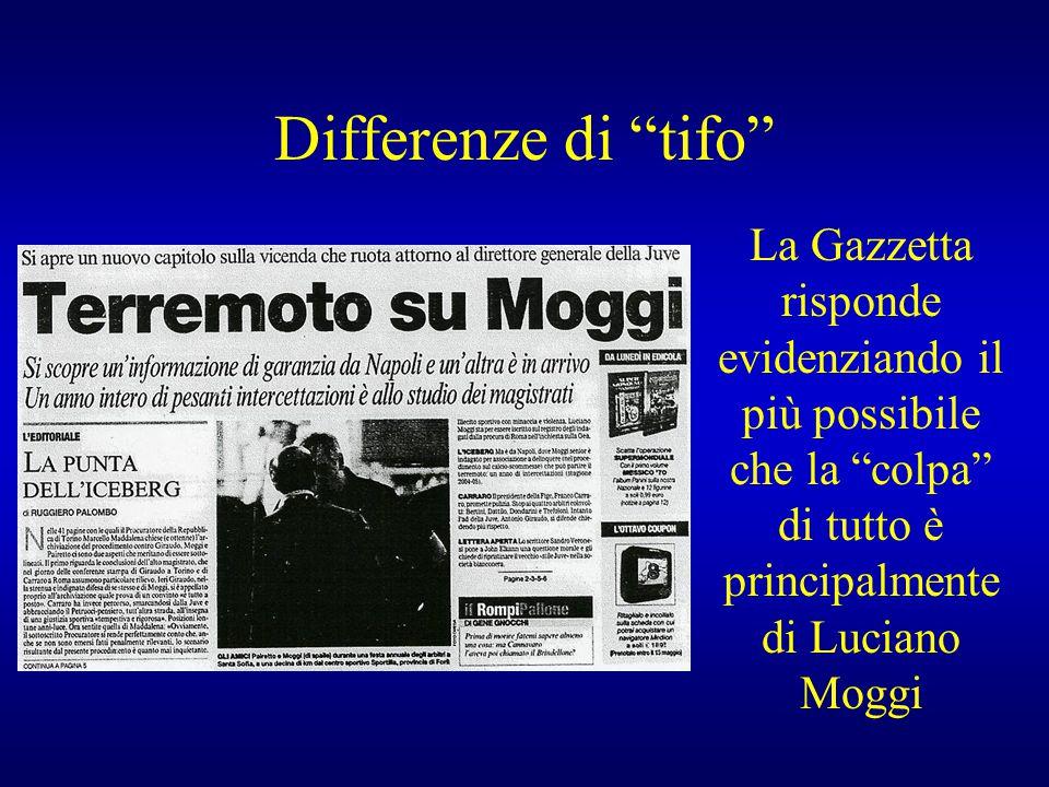 """Differenze di """"tifo"""" La Gazzetta risponde evidenziando il più possibile che la """"colpa"""" di tutto è principalmente di Luciano Moggi"""