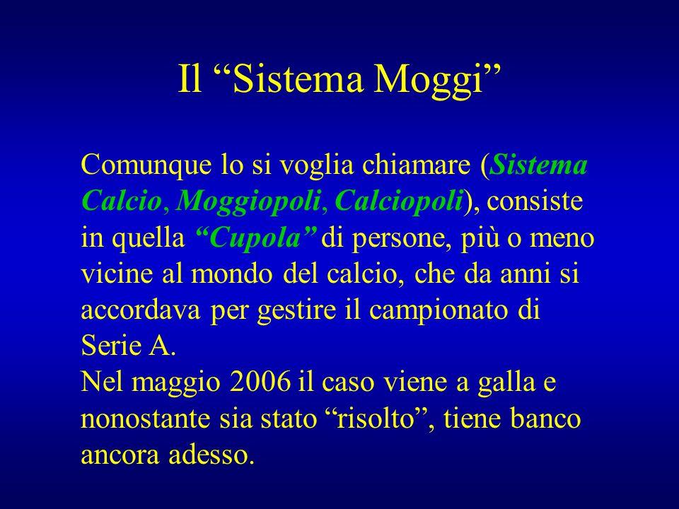 """Il """"Sistema Moggi"""" Comunque lo si voglia chiamare (Sistema Calcio, Moggiopoli, Calciopoli), consiste in quella """"Cupola"""" di persone, più o meno vicine"""