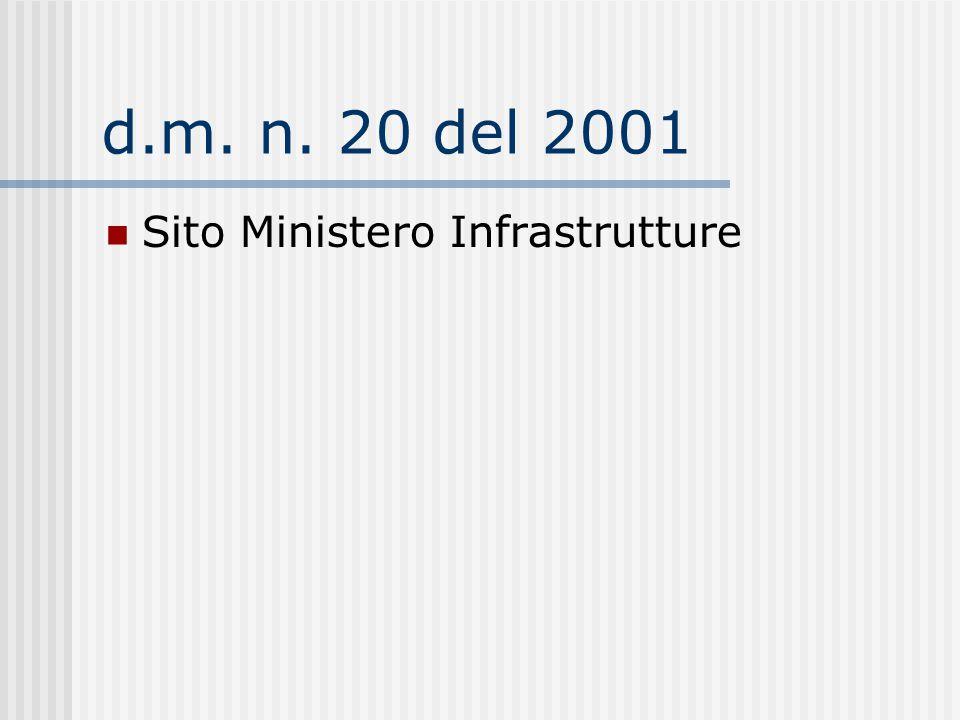 d.m. n. 20 del 2001 Sito Ministero Infrastrutture