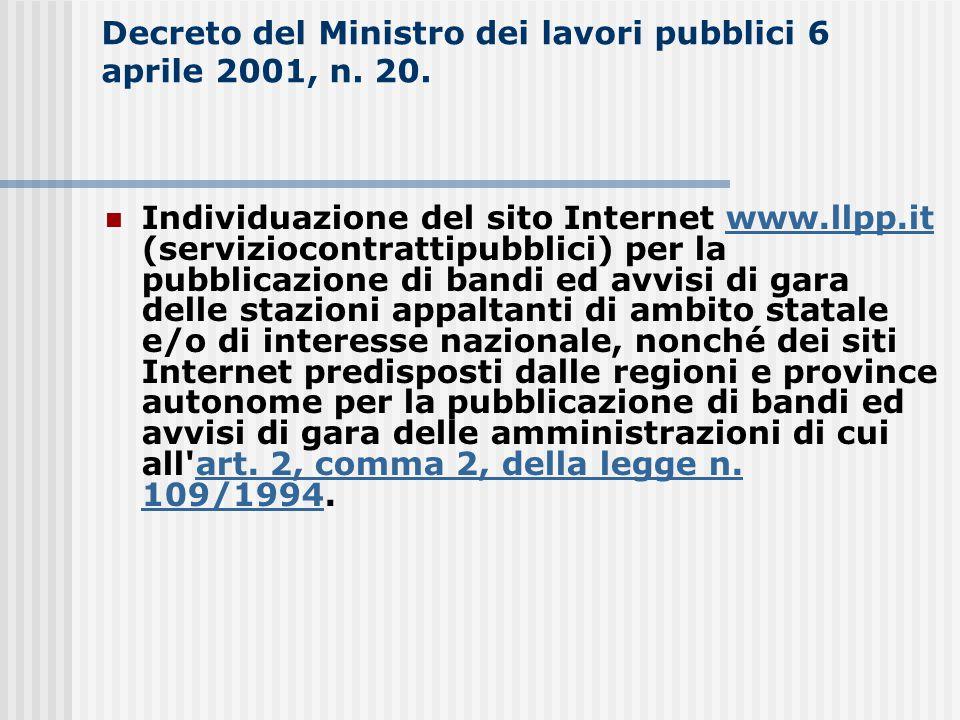 Decreto del Ministro dei lavori pubblici 6 aprile 2001, n. 20. Individuazione del sito Internet www.llpp.it (serviziocontrattipubblici) per la pubblic