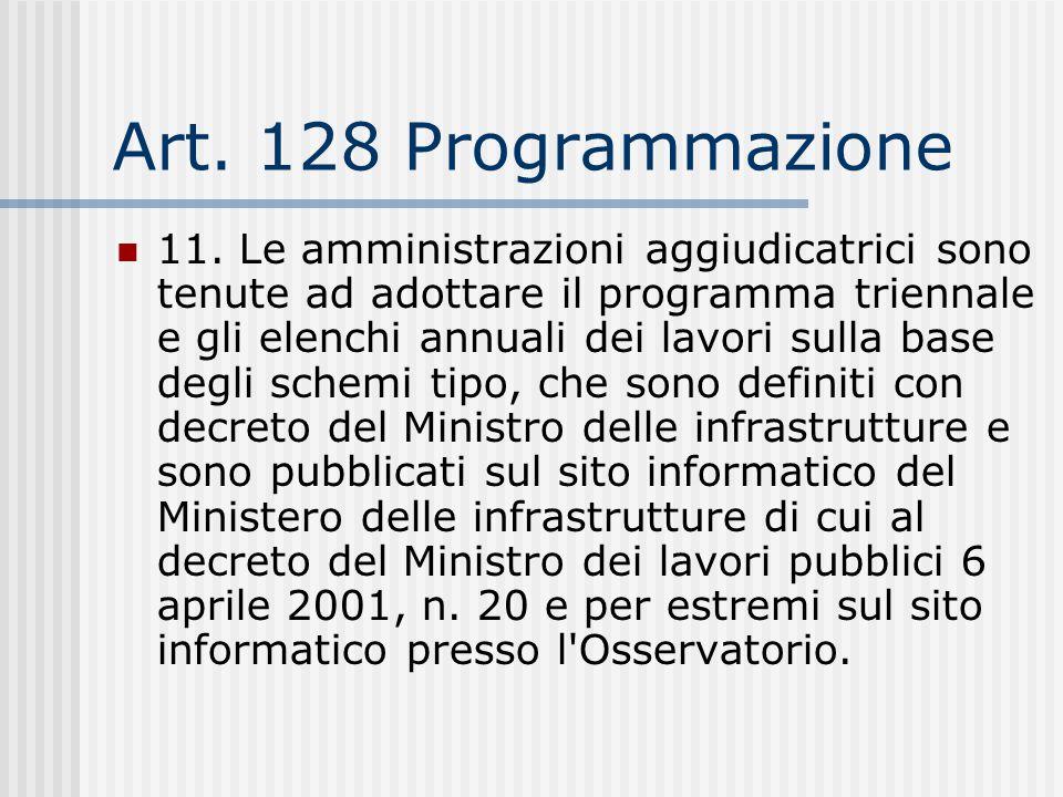 Art. 128 Programmazione 11. Le amministrazioni aggiudicatrici sono tenute ad adottare il programma triennale e gli elenchi annuali dei lavori sulla ba