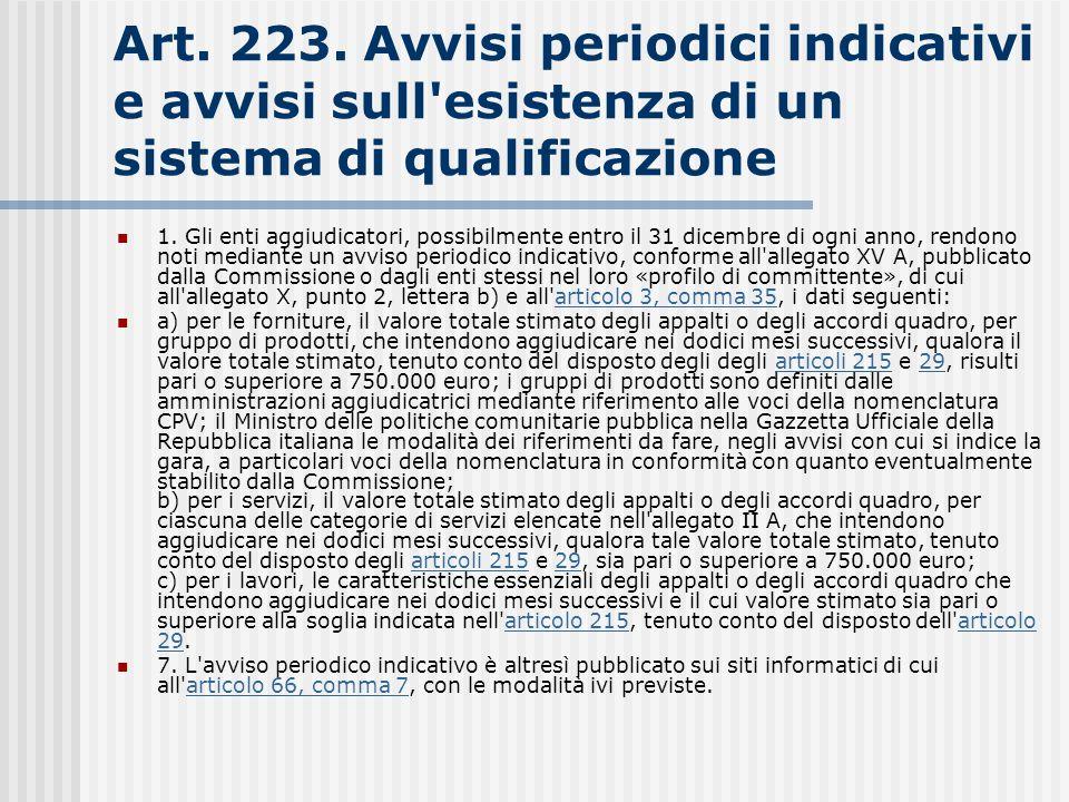 Art. 223. Avvisi periodici indicativi e avvisi sull'esistenza di un sistema di qualificazione 1. Gli enti aggiudicatori, possibilmente entro il 31 dic