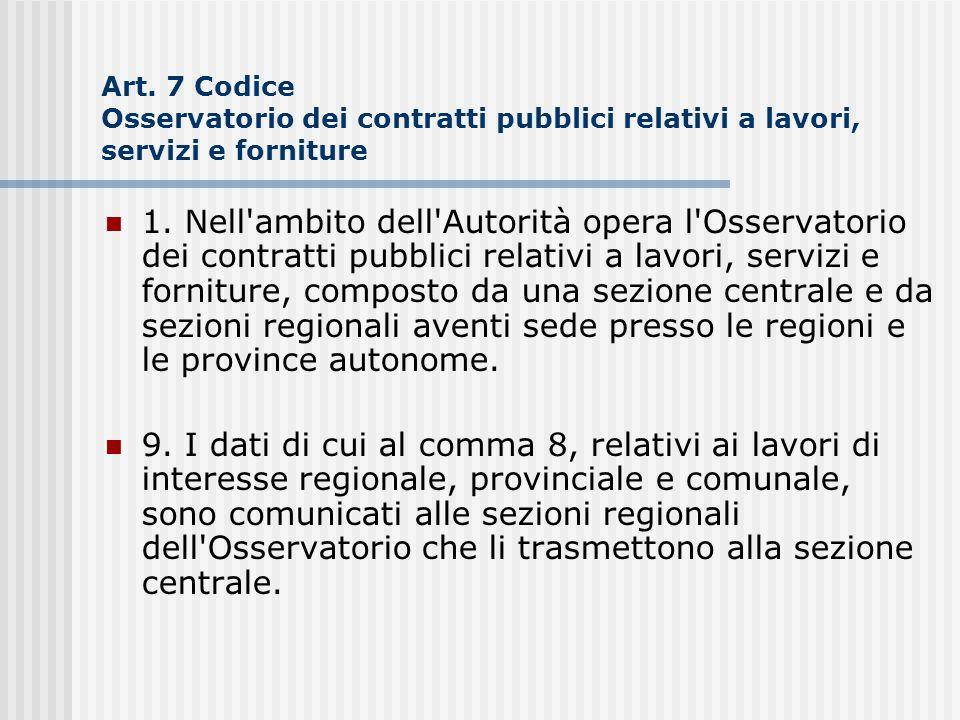 Art. 7 Codice Osservatorio dei contratti pubblici relativi a lavori, servizi e forniture 1. Nell'ambito dell'Autorità opera l'Osservatorio dei contrat