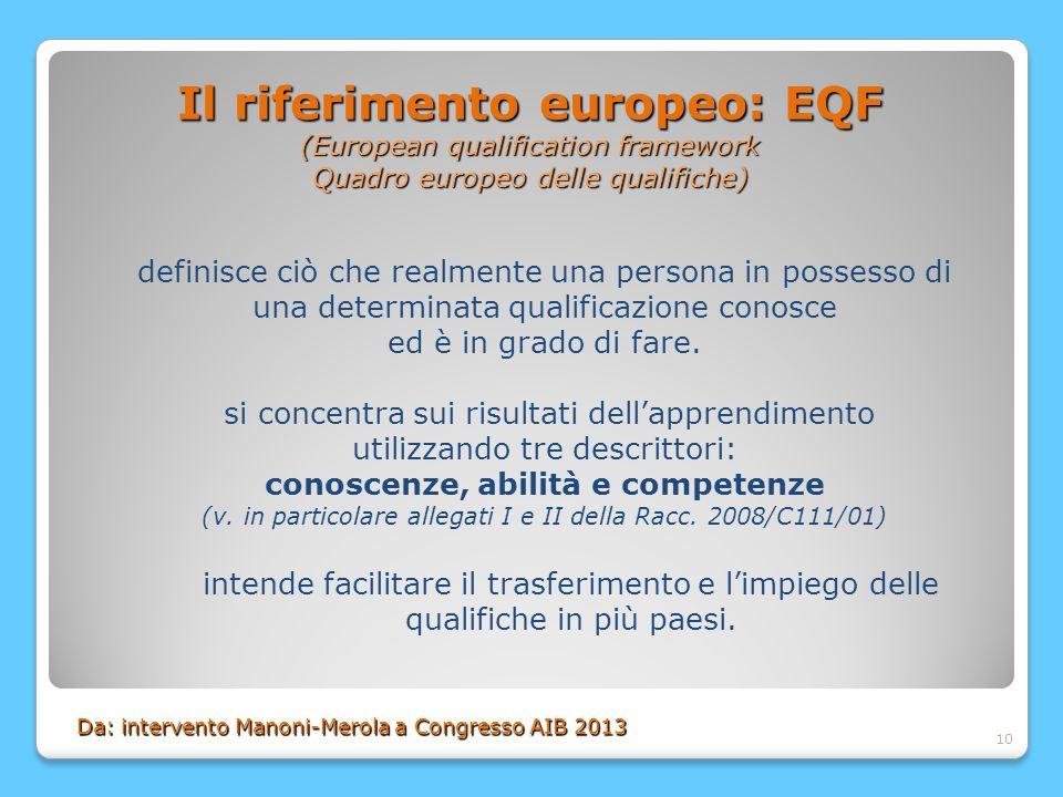 10 Il riferimento europeo: EQF (European qualification framework Quadro europeo delle qualifiche) definisce ciò che realmente una persona in possesso di una determinata qualificazione conosce ed è in grado di fare.