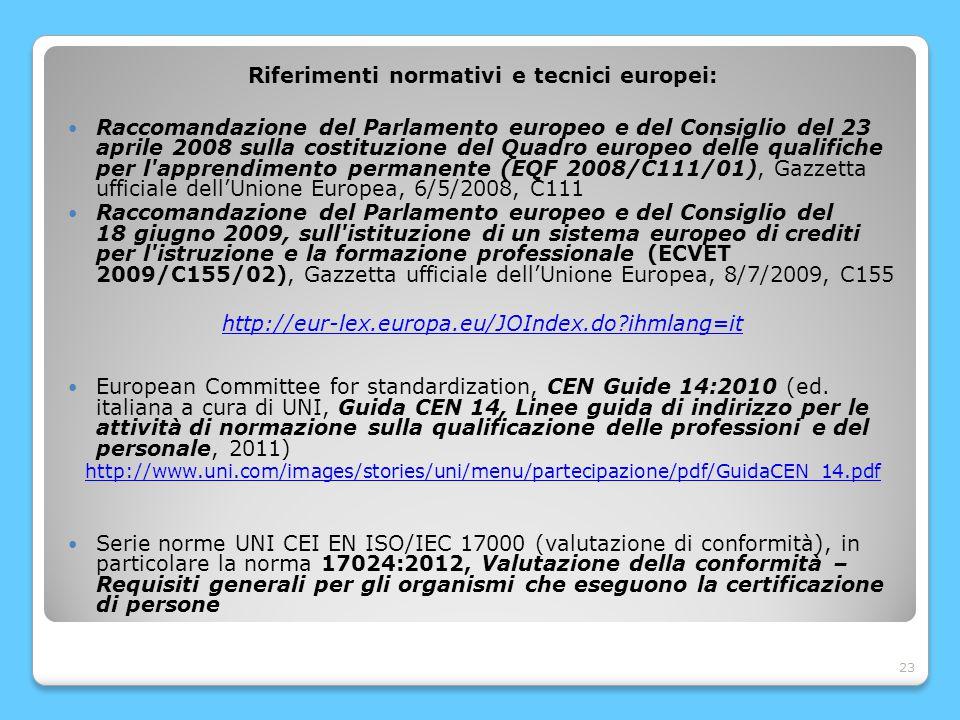 23 Riferimenti normativi e tecnici europei: Raccomandazione del Parlamento europeo e del Consiglio del 23 aprile 2008 sulla costituzione del Quadro europeo delle qualifiche per l apprendimento permanente (EQF 2008/C111/01), Gazzetta ufficiale dell'Unione Europea, 6/5/2008, C111 Raccomandazione del Parlamento europeo e del Consiglio del 18 giugno 2009, sull istituzione di un sistema europeo di crediti per l istruzione e la formazione professionale (ECVET 2009/C155/02), Gazzetta ufficiale dell'Unione Europea, 8/7/2009, C155 http://eur-lex.europa.eu/JOIndex.do?ihmlang=it European Committee for standardization, CEN Guide 14:2010 (ed.