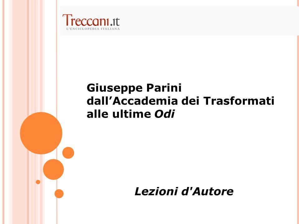 Giuseppe Parini dall'Accademia dei Trasformati alle ultime Odi Lezioni d'Autore