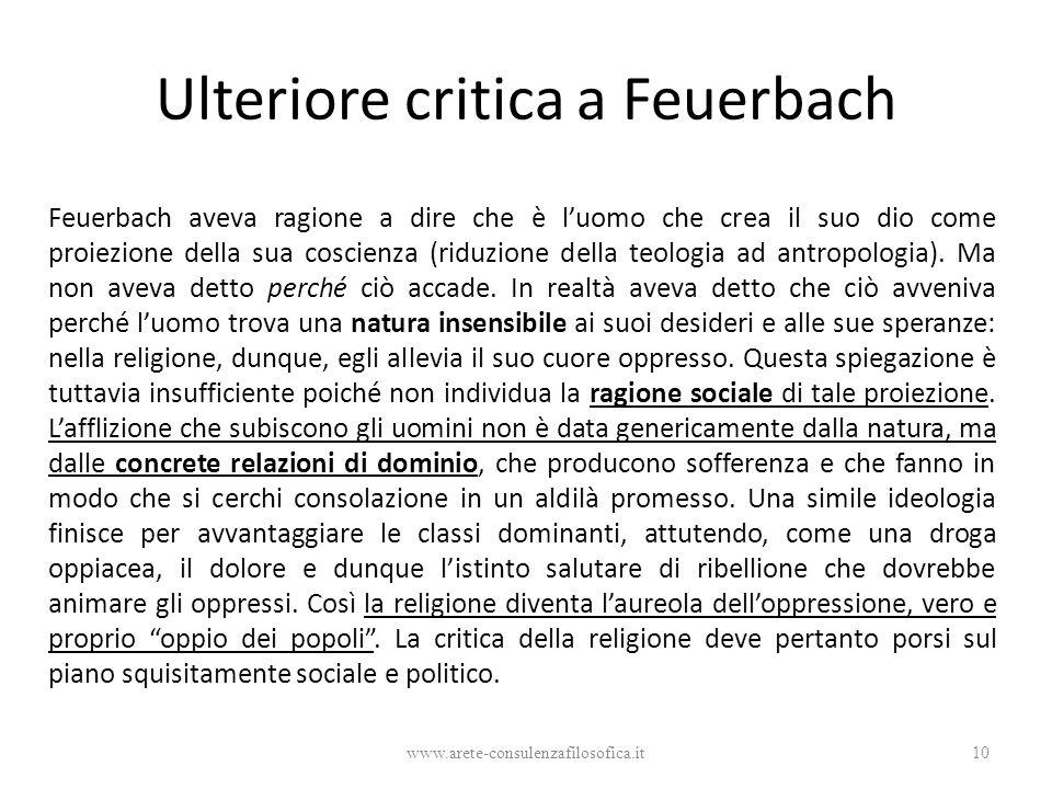 Ulteriore critica a Feuerbach Feuerbach aveva ragione a dire che è l'uomo che crea il suo dio come proiezione della sua coscienza (riduzione della teo