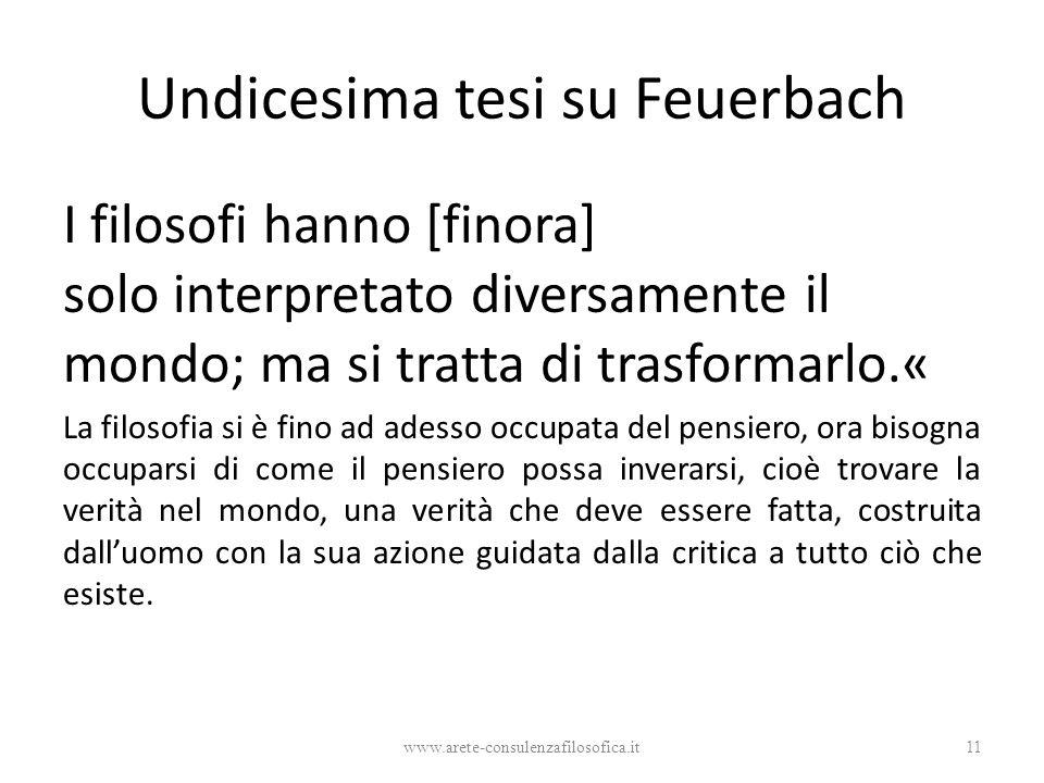 Undicesima tesi su Feuerbach I filosofi hanno [finora] solo interpretato diversamente il mondo; ma si tratta di trasformarlo.« La filosofia si è fino