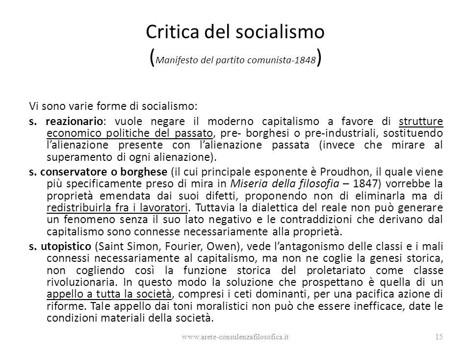 Critica del socialismo ( Manifesto del partito comunista-1848 ) Vi sono varie forme di socialismo: s. reazionario: vuole negare il moderno capitalismo