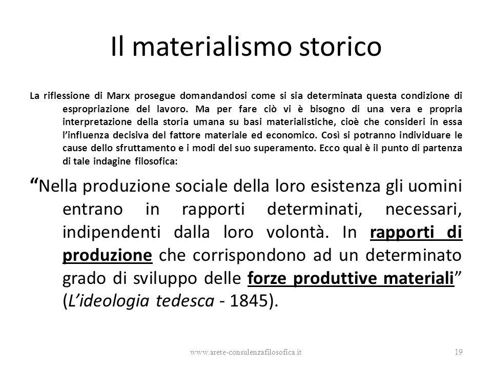 Il materialismo storico La riflessione di Marx prosegue domandandosi come si sia determinata questa condizione di espropriazione del lavoro. Ma per fa