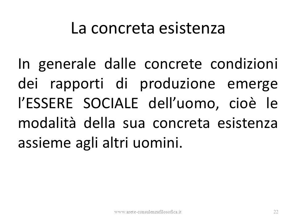 La concreta esistenza In generale dalle concrete condizioni dei rapporti di produzione emerge l'ESSERE SOCIALE dell'uomo, cioè le modalità della sua c