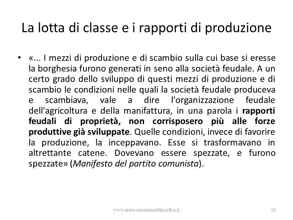 La lotta di classe e i rapporti di produzione «... I mezzi di produzione e di scambio sulla cui base si eresse la borghesia furono generati in seno al