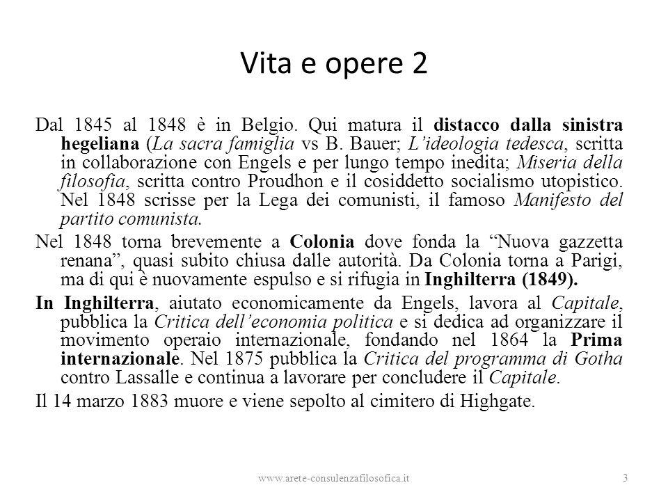 Vita e opere 2 Dal 1845 al 1848 è in Belgio. Qui matura il distacco dalla sinistra hegeliana (La sacra famiglia vs B. Bauer; L'ideologia tedesca, scri