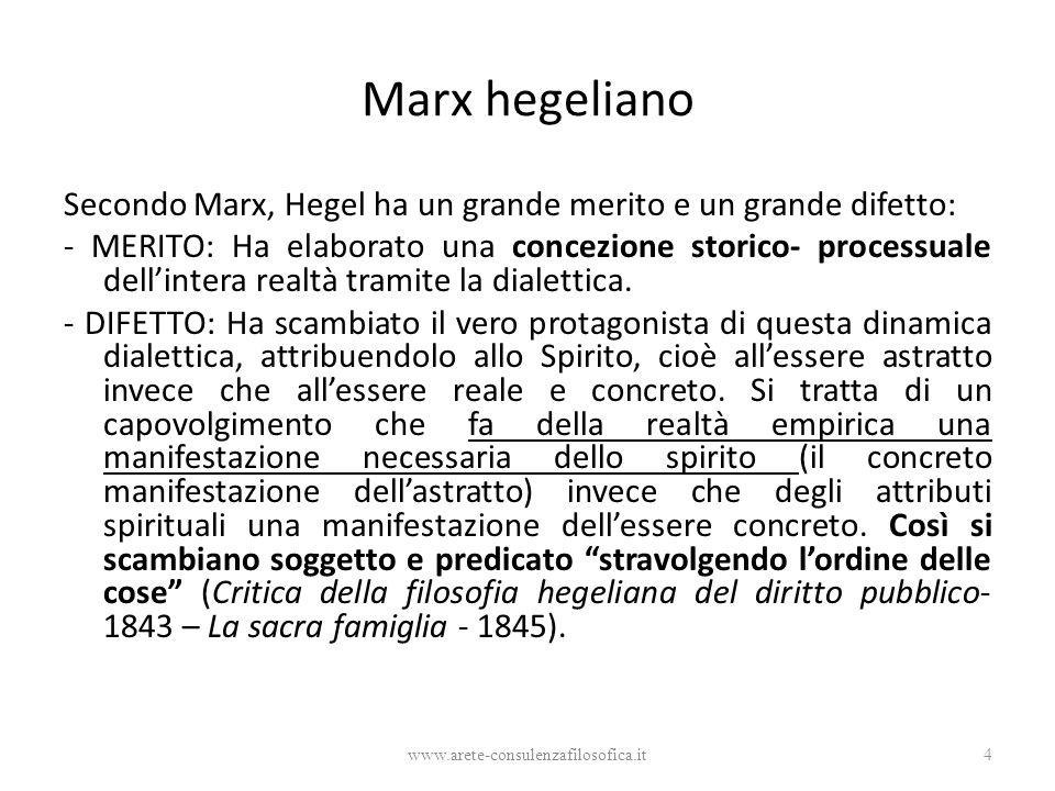 Marx hegeliano Secondo Marx, Hegel ha un grande merito e un grande difetto: - MERITO: Ha elaborato una concezione storico- processuale dell'intera realtà tramite la dialettica.
