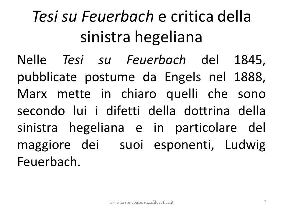 Tesi su Feuerbach e critica della sinistra hegeliana Nelle Tesi su Feuerbach del 1845, pubblicate postume da Engels nel 1888, Marx mette in chiaro quelli che sono secondo lui i difetti della dottrina della sinistra hegeliana e in particolare del maggiore dei suoi esponenti, Ludwig Feuerbach.
