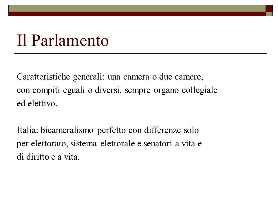 Il Parlamento Caratteristiche generali: una camera o due camere, con compiti eguali o diversi, sempre organo collegiale ed elettivo. Italia: bicameral