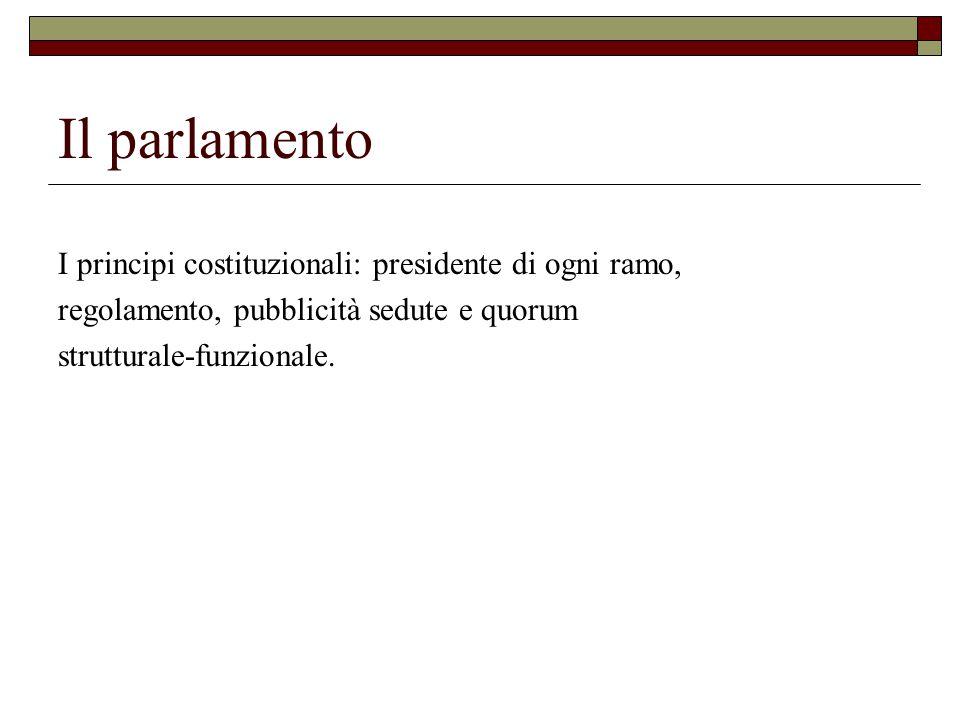 Il parlamento I principi costituzionali: presidente di ogni ramo, regolamento, pubblicità sedute e quorum strutturale-funzionale.