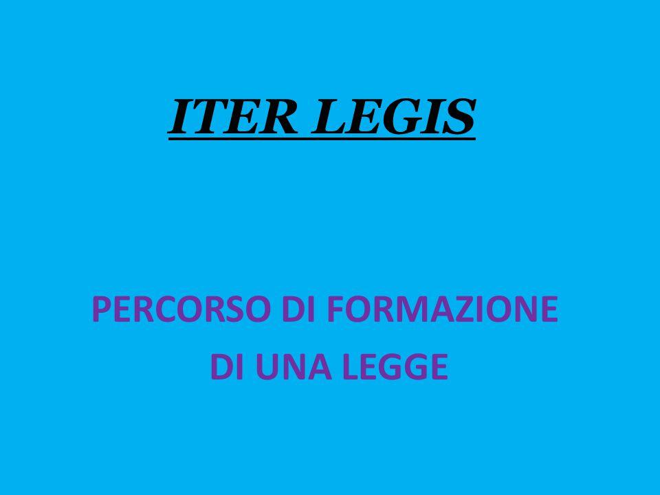 ITER LEGIS PERCORSO DI FORMAZIONE DI UNA LEGGE