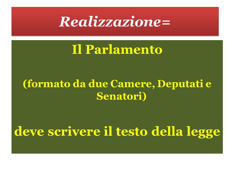 Realizzazione= Il Parlamento (formato da due Camere, Deputati e Senatori) deve scrivere il testo della legge