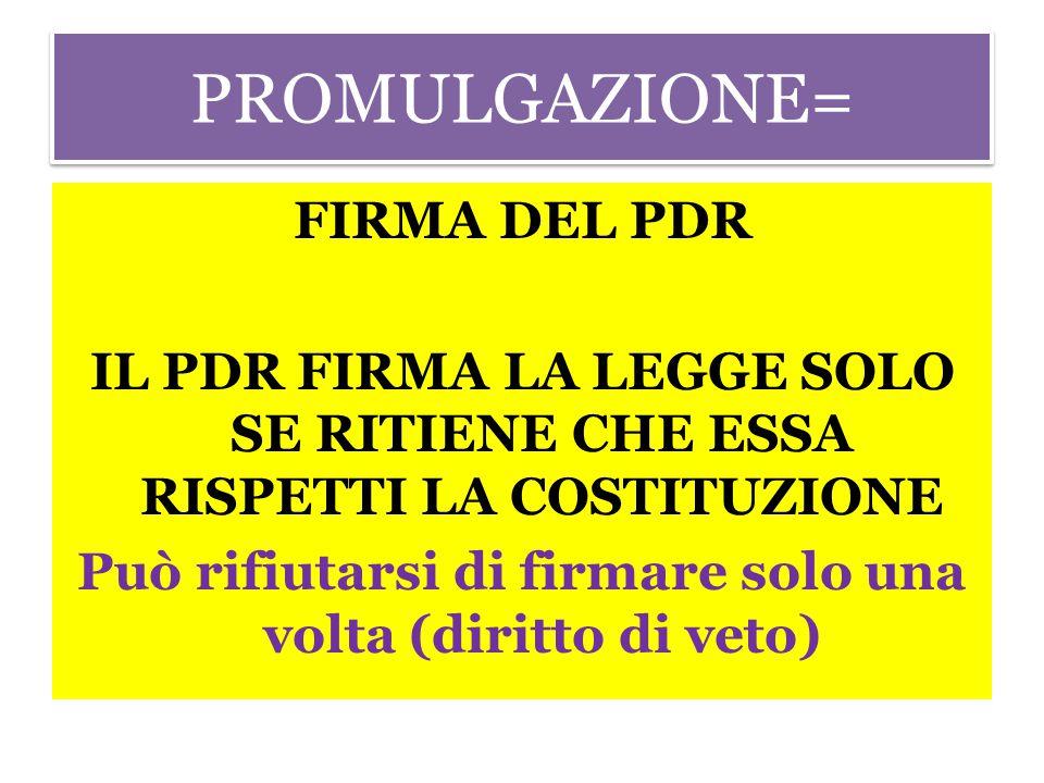 PROMULGAZIONE= FIRMA DEL PDR IL PDR FIRMA LA LEGGE SOLO SE RITIENE CHE ESSA RISPETTI LA COSTITUZIONE Può rifiutarsi di firmare solo una volta (diritto di veto)