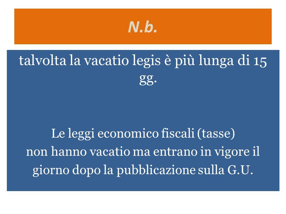 N.b. talvolta la vacatio legis è più lunga di 15 gg. Le leggi economico fiscali (tasse) non hanno vacatio ma entrano in vigore il giorno dopo la pubbl