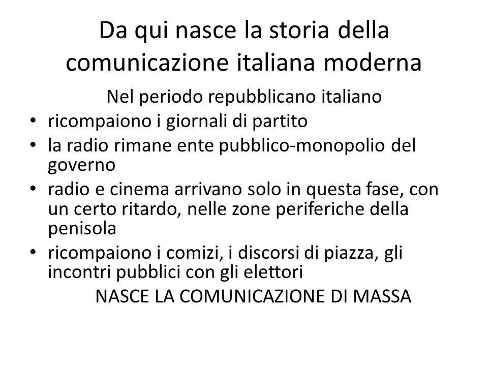 Da qui nasce la storia della comunicazione italiana moderna Nel periodo repubblicano italiano ricompaiono i giornali di partito la radio rimane ente p