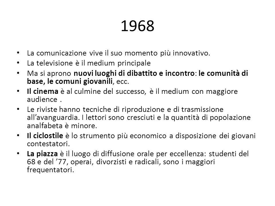 1968 La comunicazione vive il suo momento più innovativo. La televisione è il medium principale Ma si aprono nuovi luoghi di dibattito e incontro: le