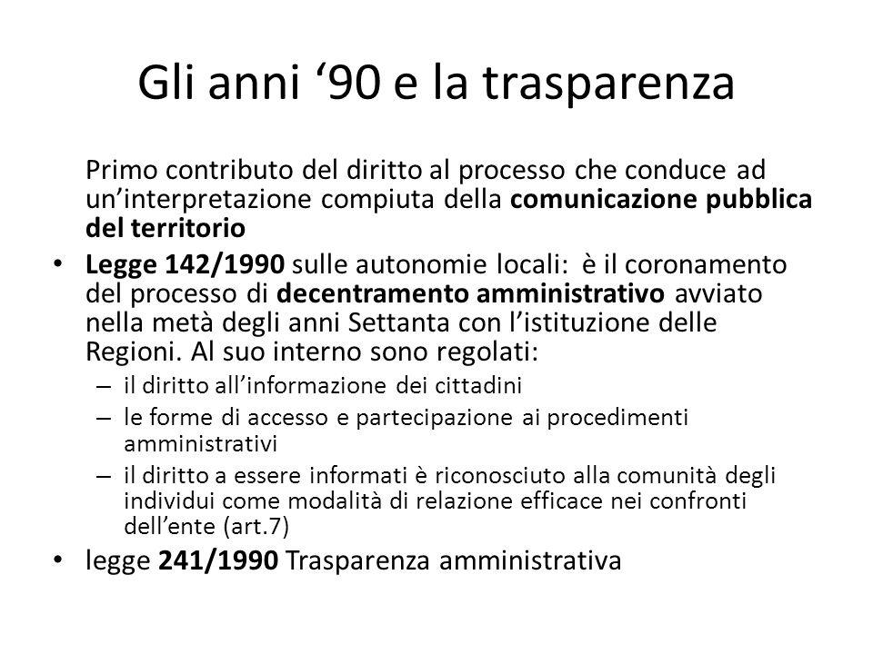 Gli anni '90 e la trasparenza Primo contributo del diritto al processo che conduce ad un'interpretazione compiuta della comunicazione pubblica del ter