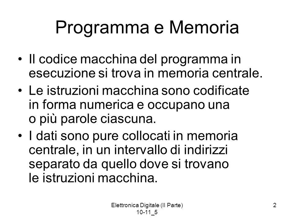 Elettronica Digitale (II Parte) 10-11_5 3 esempio di collocazione in memoria centrale di programma e relativi dati qui le istruzioni macchina sono denotate in forma simbolica, ma in realtà sono in forma numerica per semplicità si suppone occupino ciascuna una sola parola di memoria Esempio