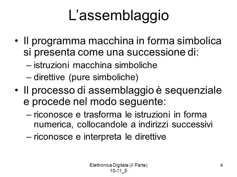Elettronica Digitale (II Parte) 10-11_5 5 Processo di Assemblaggio (1) Il processo di assemblaggio deve in qualche modo definire dove (cioè a quali indirizzi) collocare programma e dati.