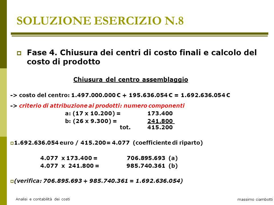 massimo ciambotti Analisi e contabilità dei costi Chiusura del centro assemblaggio -> costo del centro: 1.497.000.000 € + 195.636.054 € = 1.692.636.054 € -> criterio di attribuzione ai prodotti: numero componenti a: (17 x 10.200) = 173.400 b: (26 x 9.300) = 241.800 tot.415.200  1.692.636.054 euro / 415.200= 4.077 (coefficiente di riparto) 4.077 x 173.400 = 706.895.693 (a) 4.077 x 241.800 = 985.740.361 (b)  (verifica: 706.895.693 + 985.740.361 = 1.692.636.054) SOLUZIONE ESERCIZIO N.8  Fase 4.